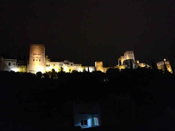 The Alhambra at night, as seen from the deck of our Granada apartment.
