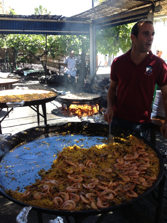 All-you-can-eat paella on the beach at Nerja.